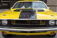 Yellow Dodge Charger R/T Front Royalty Free Stock Photo
