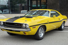 Yellow Dodge Charger R/T Side Royalty Free Stock Images