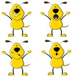 The Yellow Dog. An illustration featuring a cartoon yellow dog in various poses Stock Illustration