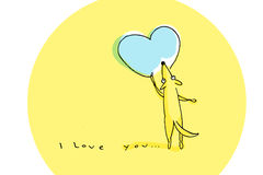Yellow dog drawing big blue heart on Valentine's Day. Illustration Stock Photo