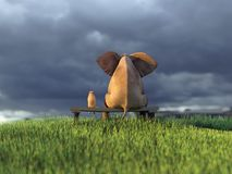 Yellow dog and elephant on green field. Yellow dog and elephant on green grass field Stock Photos