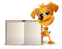 Yellow dog holds open book. On white 3d vector realistic illustration Stock Image