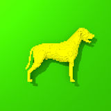 Yellow dog - low polygonal illustratuin. Low poly colorful, pop art style dog illustration Royalty Free Stock Images