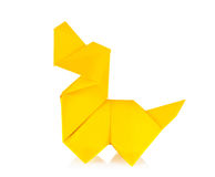 Yellow dog of origami Royalty Free Stock Photography