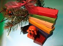 Yellow dog is plasticine stock photo