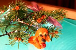 Yellow dog is plasticine royalty free stock photo