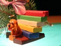 Yellow dog is plasticine stock photography