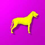 Yellow dog pop art style illustration. Low poly colorful, pop art style dog illustration Stock Images