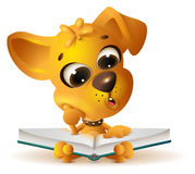 Yellow dog reading open book Royalty Free Stock Photo