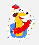 Yellow dog is the symbol of Chinese New Year. Vector flat illustration of a dog with an accordion. The image is isolated from the royalty free illustration