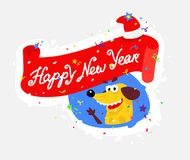 Yellow dog is the symbol of the new year. Vector illustration in a flat style. Sticker of a silly dog. The image is isolated from stock illustration