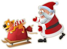 Yellow dog symbol of year 2018. Fun dog holds bag with gifts and goes on sled, Santa catches up. On white vector cartoon illustration Royalty Free Stock Images