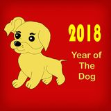 Yellow dog, symbol of the year 2018. Vector illustration Royalty Free Stock Photo