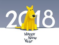 Yellow dog 2018 royalty free illustration