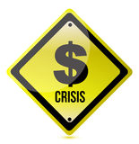 Yellow dollar crisis sign illustration design. On white Royalty Free Stock Images