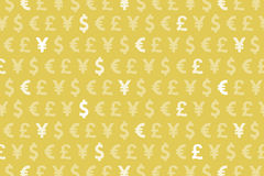 Yellow Dollar Euro Yen Pound Currencies Pattern Background Royalty Free Stock Photography