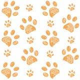 Yellow doodle paw print pattern background. Yellow doodle paw print pattern vector background vector illustration