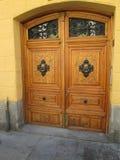 Yellow door. Door, wood, facade, entrance Royalty Free Stock Photo