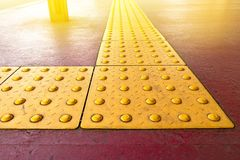 Free Yellow Dot Tactile Paving For Blind Handicap On Tiles Pathway In Japan, Walkway For Blindness People Stock Image - 161637291