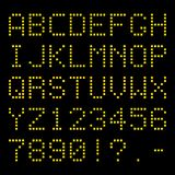 Yellow dotted led squared typeface isolated on backgroound.  stock illustration