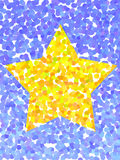 Yellow dotted star. On blue crystals Royalty Free Illustration