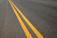 Yellow double solid line stock photography