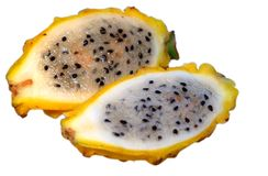 Yellow dragon fruit halfes Stock Photos