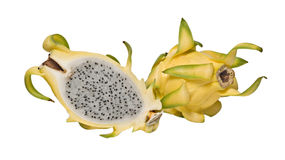 Yellow dragon fruit and its section Royalty Free Stock Images
