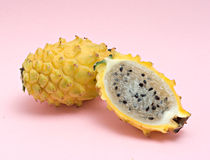 Yellow dragon fruit and its section Stock Photos