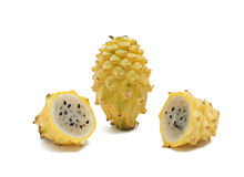 Yellow dragon fruit and its sections Royalty Free Stock Image