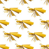 Yellow dragonfly seamless pattern in origami style Stock Image