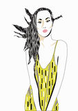 Yellow dress. A illustration of a woman in a yellow dress stock illustration
