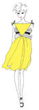 Yellow Dress. This summer's sensation - the yellow colour Stock Photo