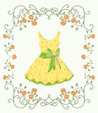 Yellow dress and floral frame Royalty Free Stock Photos
