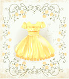 Yellow dress. Vintage label with yellow dress Stock Photos