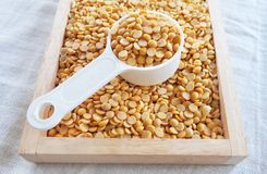 Yellow Dried Soybeans in A Measuring Spoon. Cuisine and Food, A Measuring Spoon Full of Dried Soybeans or Edamame Seeds in A Wooden Tray stock images