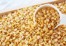 Yellow Dried Soybeans in A Measuring Spoon. Cuisine and Food, A Measuring Spoon Full of Dried Soybeans or Edamame Seeds in A Wooden Tray royalty free stock photography