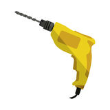 Yellow drill icon tool with wired Royalty Free Stock Images