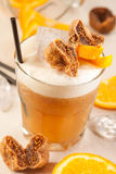 Yellow drink with figs Stock Photo