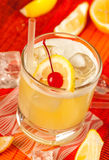 Yellow drink and ice Stock Photo