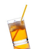 Yellow drink with ice on a white Royalty Free Stock Photo