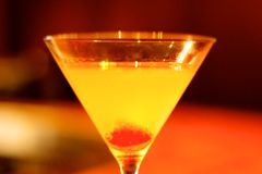 Yellow Cocktail in Martini Glass Stock Photo