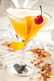 Yellow drink with passion fruit Royalty Free Stock Images