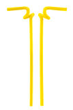 Yellow drinking straws isolated Stock Photos