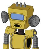 Yellow Droid With Box Head And Round Mouth And Large Blue Visor Eye And Three Spiked. Portrait style Yellow Droid With Box Head And Round Mouth And Large Blue royalty free illustration
