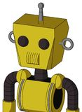 Yellow Droid With Box Head And Speakers Mouth And Two Eyes And Single Antenna. Portrait style Yellow Droid With Box Head And Speakers Mouth And Two Eyes And vector illustration