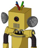 Yellow Droid With Box Head And Vent Mouth And Black Cyclops Eye And Wire Hair. Portrait style Yellow Droid With Box Head And Vent Mouth And Black Cyclops Eye And royalty free illustration