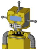 Yellow Droid With Mechanical Head And Keyboard Mouth And Large Blue Visor Eye And Single Antenna. Portrait style Yellow Droid With Mechanical Head And Keyboard vector illustration