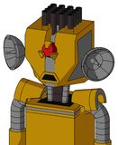 Yellow Droid With Mechanical Head And Sad Mouth And Angry Cyclops Eye And Pipe Hair. Portrait style Yellow Droid With Mechanical Head And Sad Mouth And Angry vector illustration