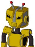 Yellow Droid With Mechanical Head And Speakers Mouth And Angry Eyes And Double Led Antenna. Portrait style Yellow Droid With Mechanical Head And Speakers Mouth vector illustration